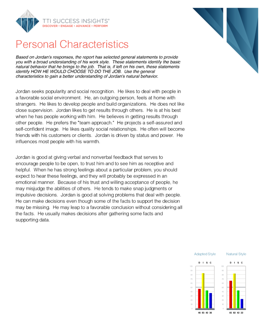 Personal Characteristics page in DISC assessment results
