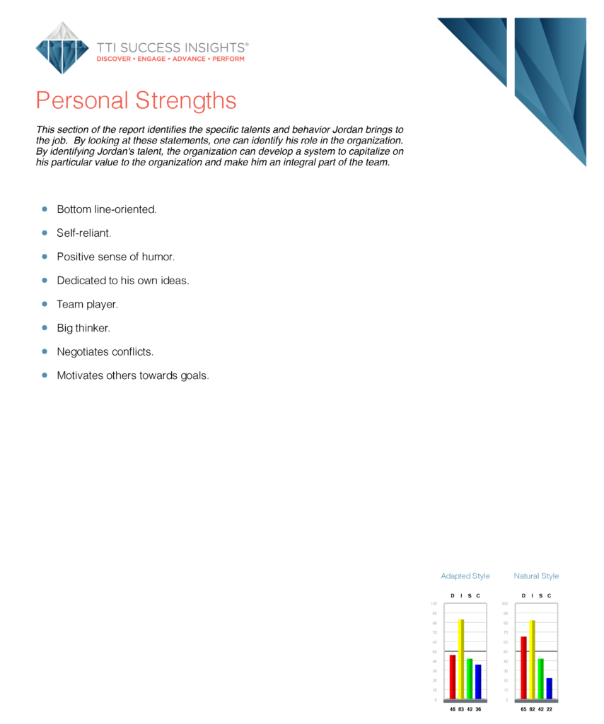 Personal Strengths page in DISC assessment results
