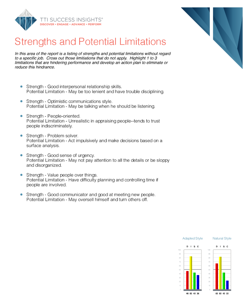 Strengths and Potential Limitations page in DISC assessment results