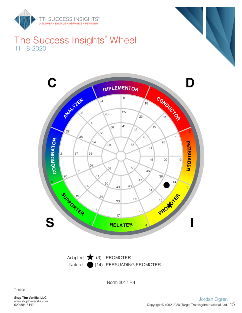 DISC Wheel page in DISC assessment results