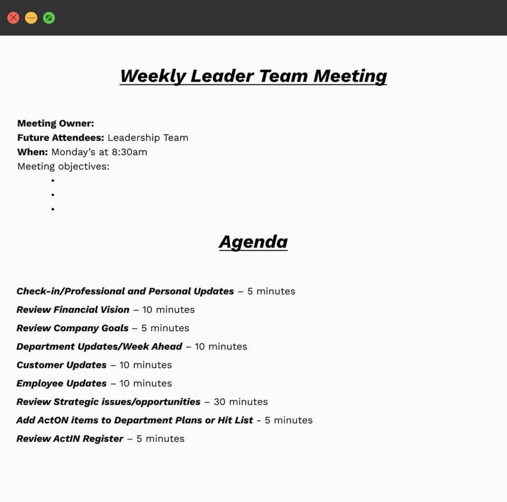 Weekly Meeting Template
