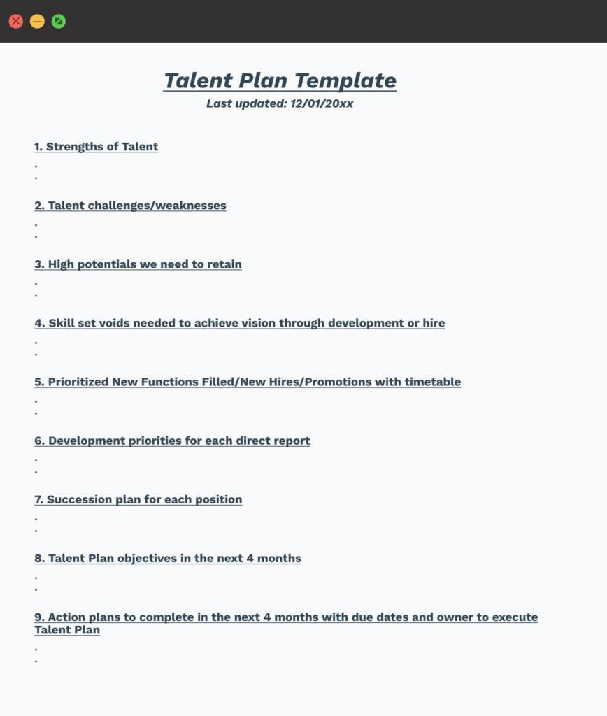 Talent Plan Template